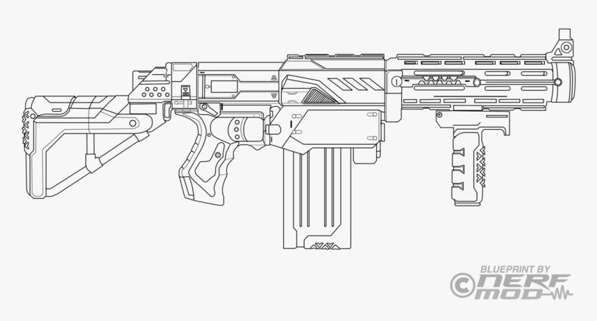 Nerf Gun Coloring Pages, HD Png Download - Kindpng