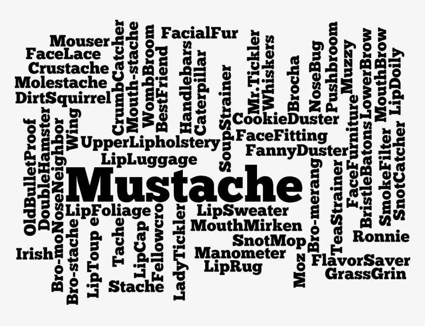 Mustache, Silhouette, Facial, Hair, Face, Upper Lip - Word Cloud .png, Transparent Png, Free Download