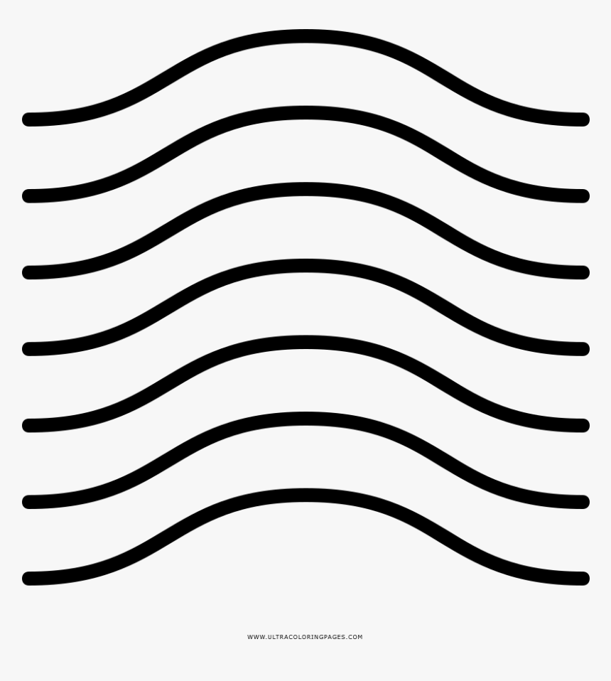 Wavy Lines Coloring Page - Line Art, HD Png Download, Free Download