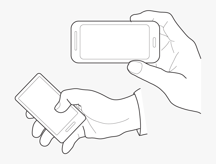 Various Hand Illustrations Holding A Touchscreen Phone - Hands Holding Phone Illustration, HD Png Download, Free Download