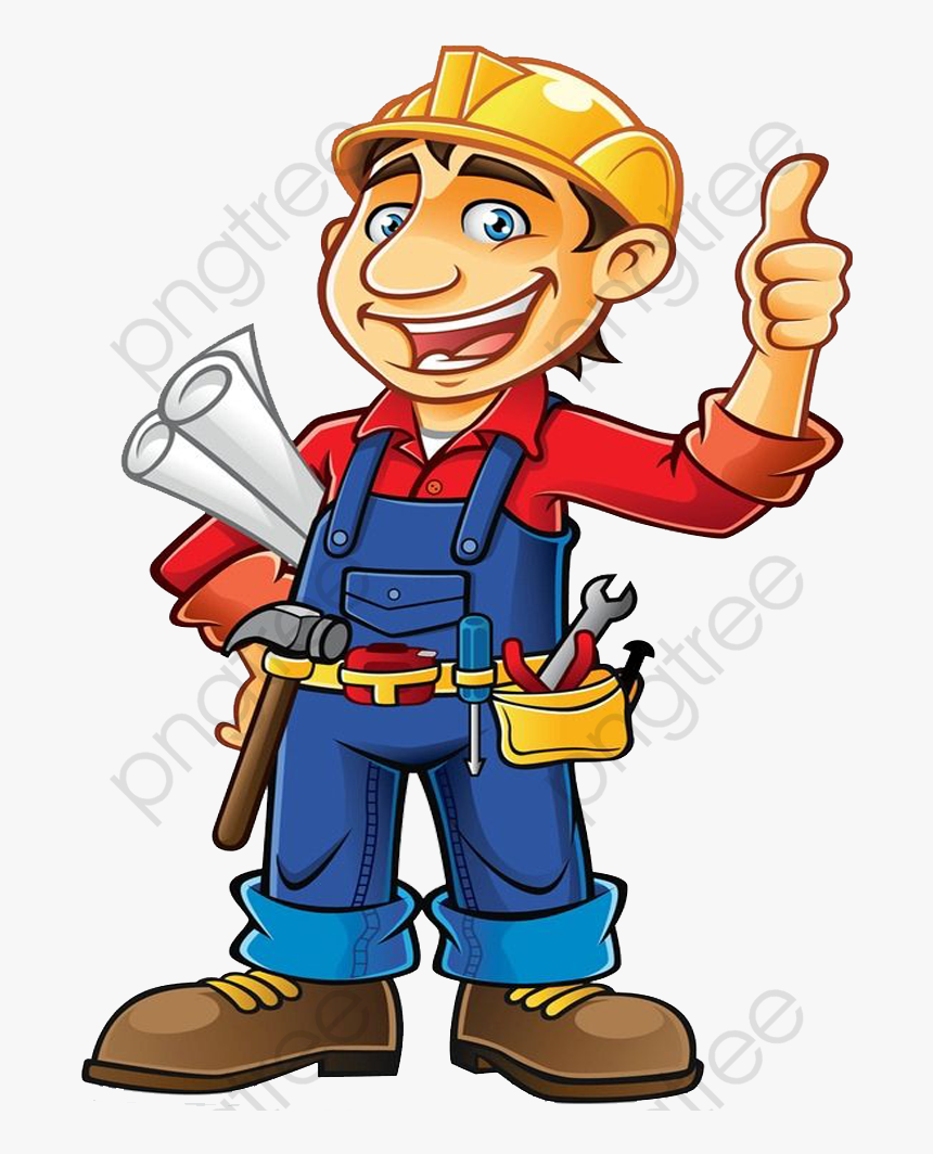 Cartoon Builder Commercial - Transparent Construction Worker Clipart, HD Png Download, Free Download
