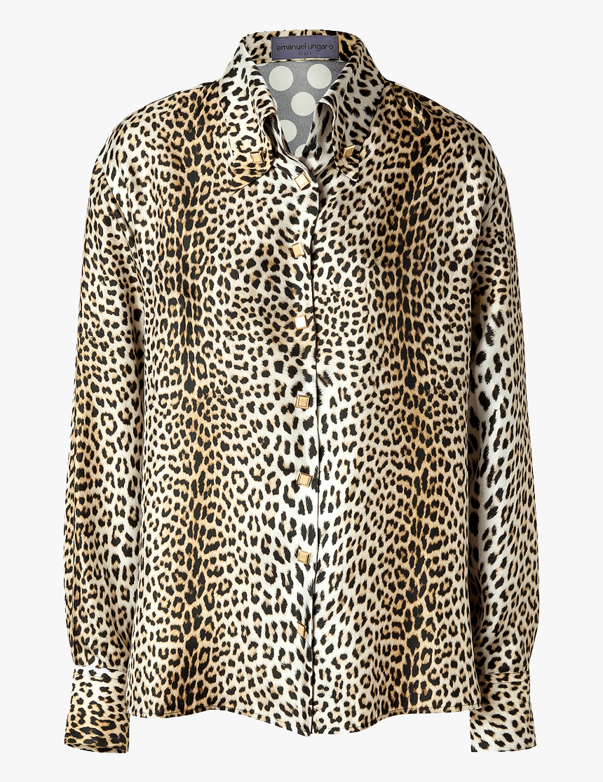 Emanuel Ungaro Silk Leopard Print Front Polka Dot Back - Leopard Print Silk Shirt, HD Png Download, Free Download