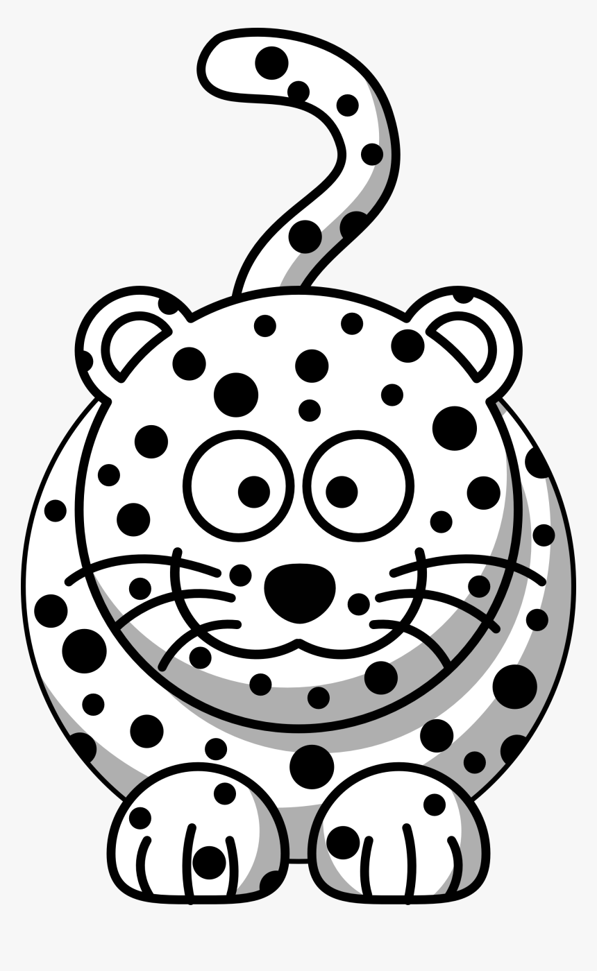 Transparent Leopard Print Png - Cartoon Leopard Clipart Black And White, Png Download, Free Download