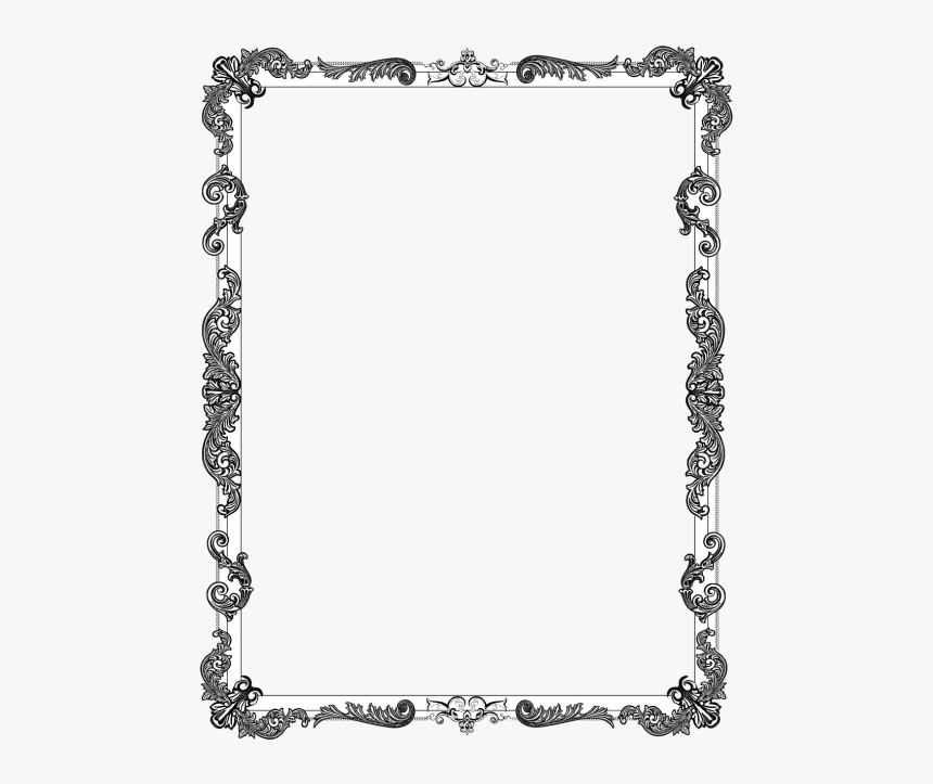 Filigree Border Png - Black And White Abstract Border, Transparent Png, Free Download