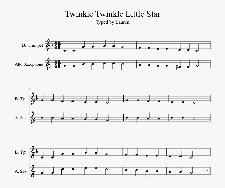 Twinkle Twinkle Little Star Musescore , Png Download - Twinkle Twinkle Little Star Saxophone Sheet, Transparent Png, Free Download