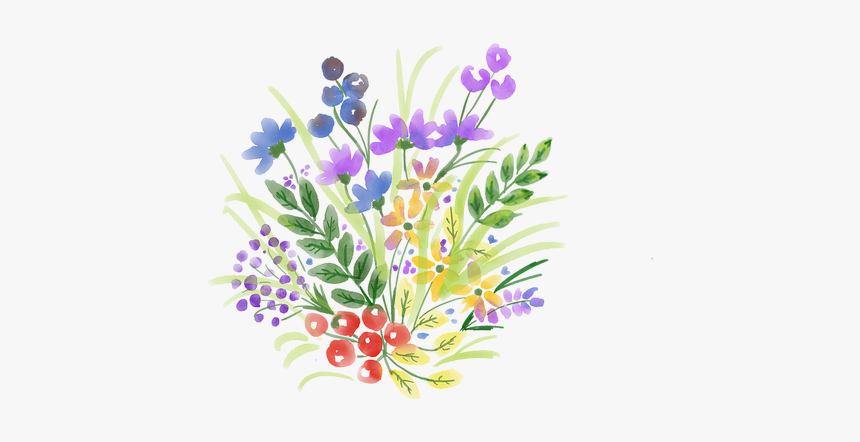 Watercolour Flower, Spring, Watercolor, Floral, Bouquet - Watercolor Wildflower Bouquet Png, Transparent Png, Free Download