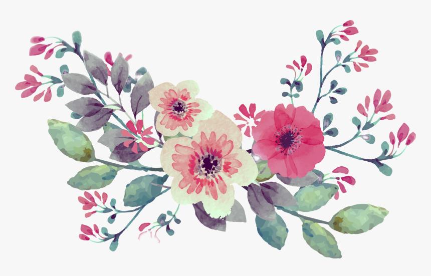 #vintage #watercolor #watercolour #flowers #flower - Vintage Flower Border Png, Transparent Png, Free Download