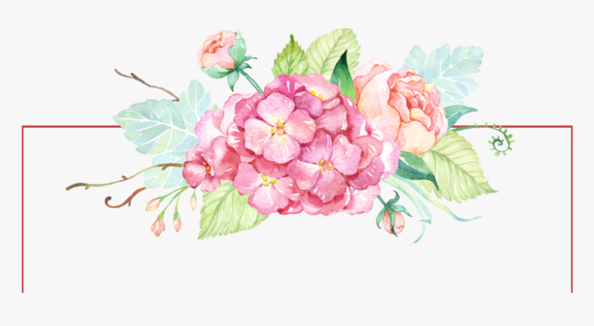 Flowers,flowering Peony,watercolor Paint,hydrangea,prickly - Watercolor Flower Banner Clipart, HD Png Download, Free Download
