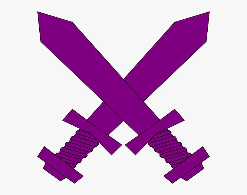 Purple Crossed Swords Clip Art At Clker - Red Crossed Swords Png, Transparent Png, Free Download