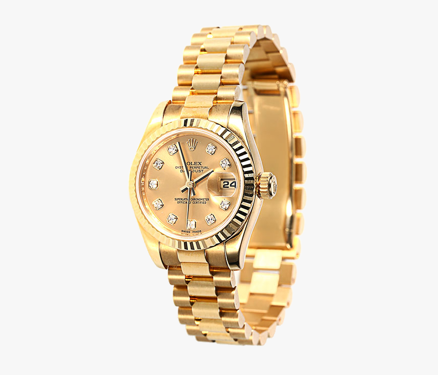 Gold Clock Watch Rolex Watches Mechanical Table Clipart - Rolex Png, Transparent Png, Free Download