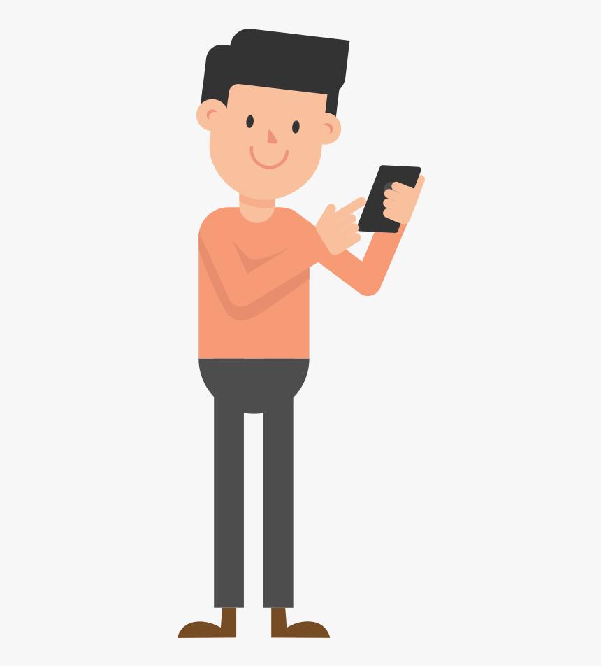 Fileman Looking - Looking At Phone Cartoon, HD Png Download, Free Download