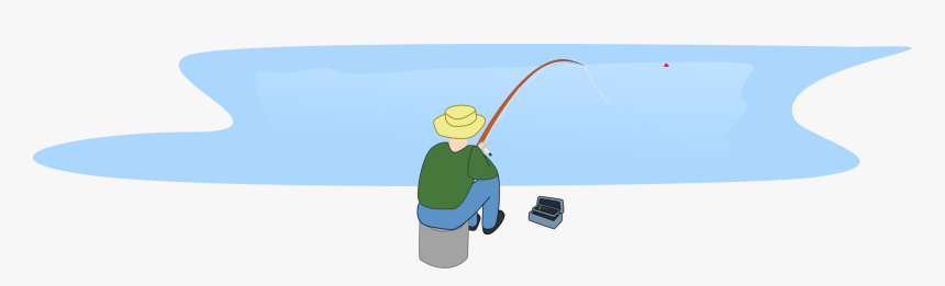 Fisherman Fishing Sitting By A Lake Clip Arts - Jezioro Clipart, HD Png Download, Free Download