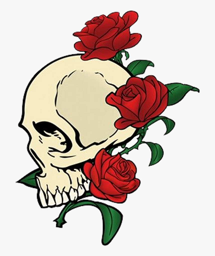 Skull Red Flowers Redaesthetic Aesthetic - Skull And Rose Transparent, HD Png Download, Free Download