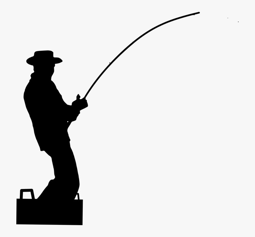 Silhouette, Fisherman, Fishing, Water, Male, Sport - Vektor Orang Mancing Png, Transparent Png, Free Download