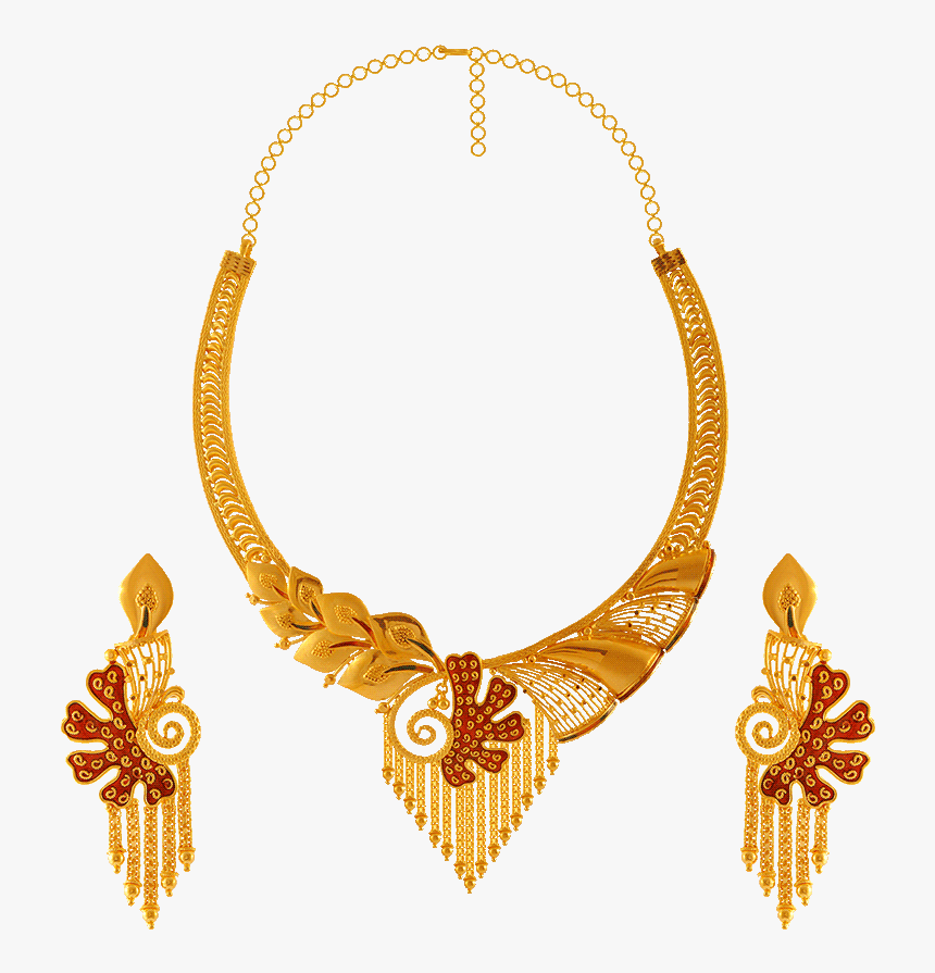 22kt Gold Necklace Set - Pc Chandra Jewellers Necklace Collection, HD Png Download, Free Download