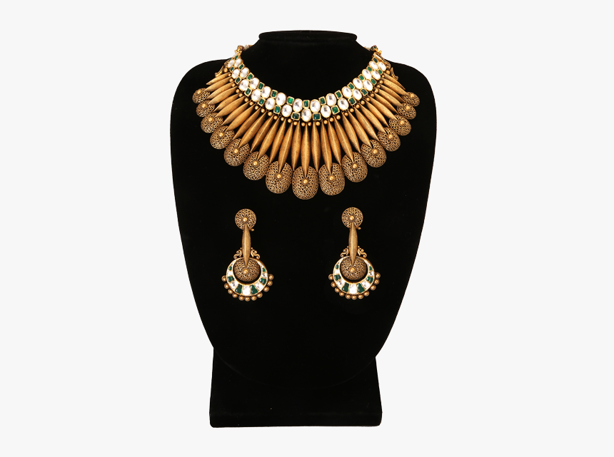 Necklace Set With Gold And Jadau - Necklace, HD Png Download, Free Download