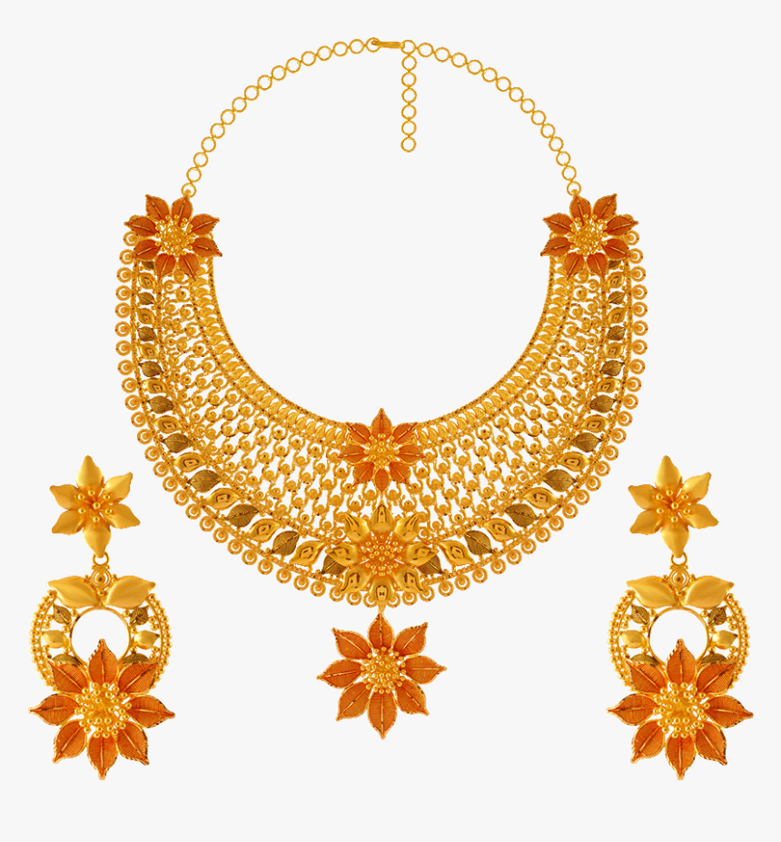 22kt Gold Necklace Set - Gold Necklace Pc Chandra Jewellers, HD Png Download, Free Download