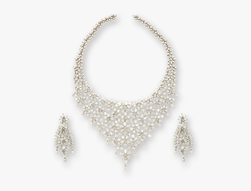 Necklace Set With Faceted Round Diamonds - Necklace, HD Png Download, Free Download