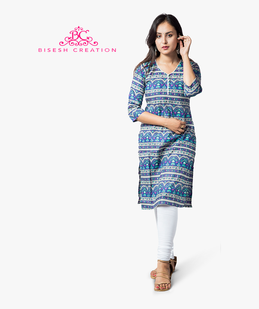 Blue Jaipuri Printed Pure Cotton Kurti With Cotton - Ankle Length Leggings And Kurti, HD Png Download, Free Download