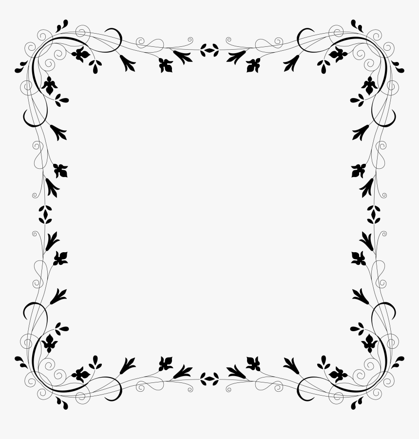 Cyberscooty Floral Border Extended 4 Clip Arts - Flower Border Black And White, HD Png Download, Free Download