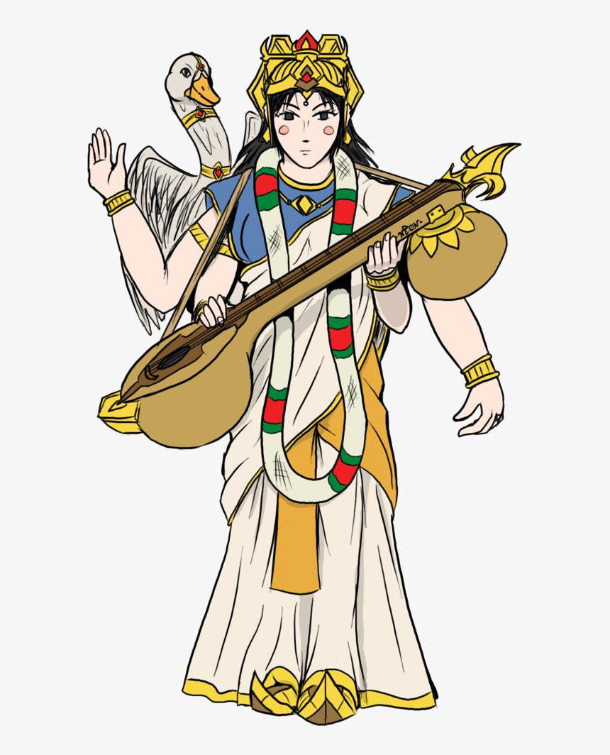 Saraswati Drawing Idol Svg Library Download - Cartoon Picture Of Saraswati Devi, HD Png Download, Free Download