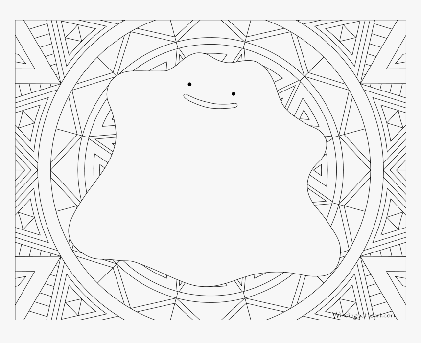 #132 Ditto Pokemon Coloring Page - Adult Coloring Pages Pokemon, HD Png Download, Free Download