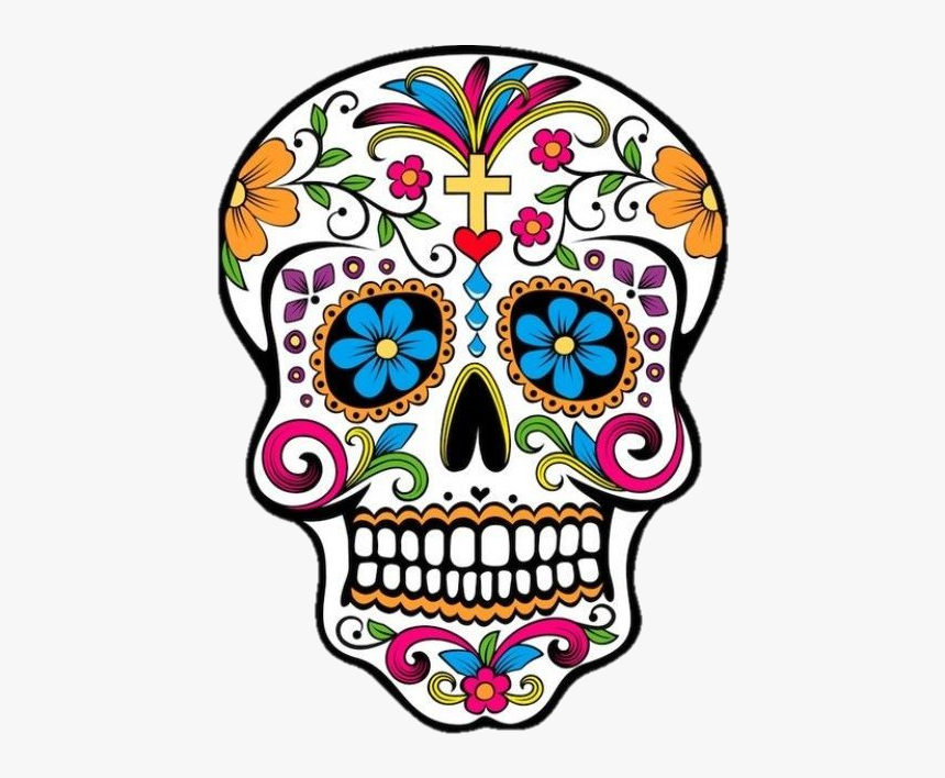 Skull - Day Of The Dead Color Skull, HD Png Download, Free Download