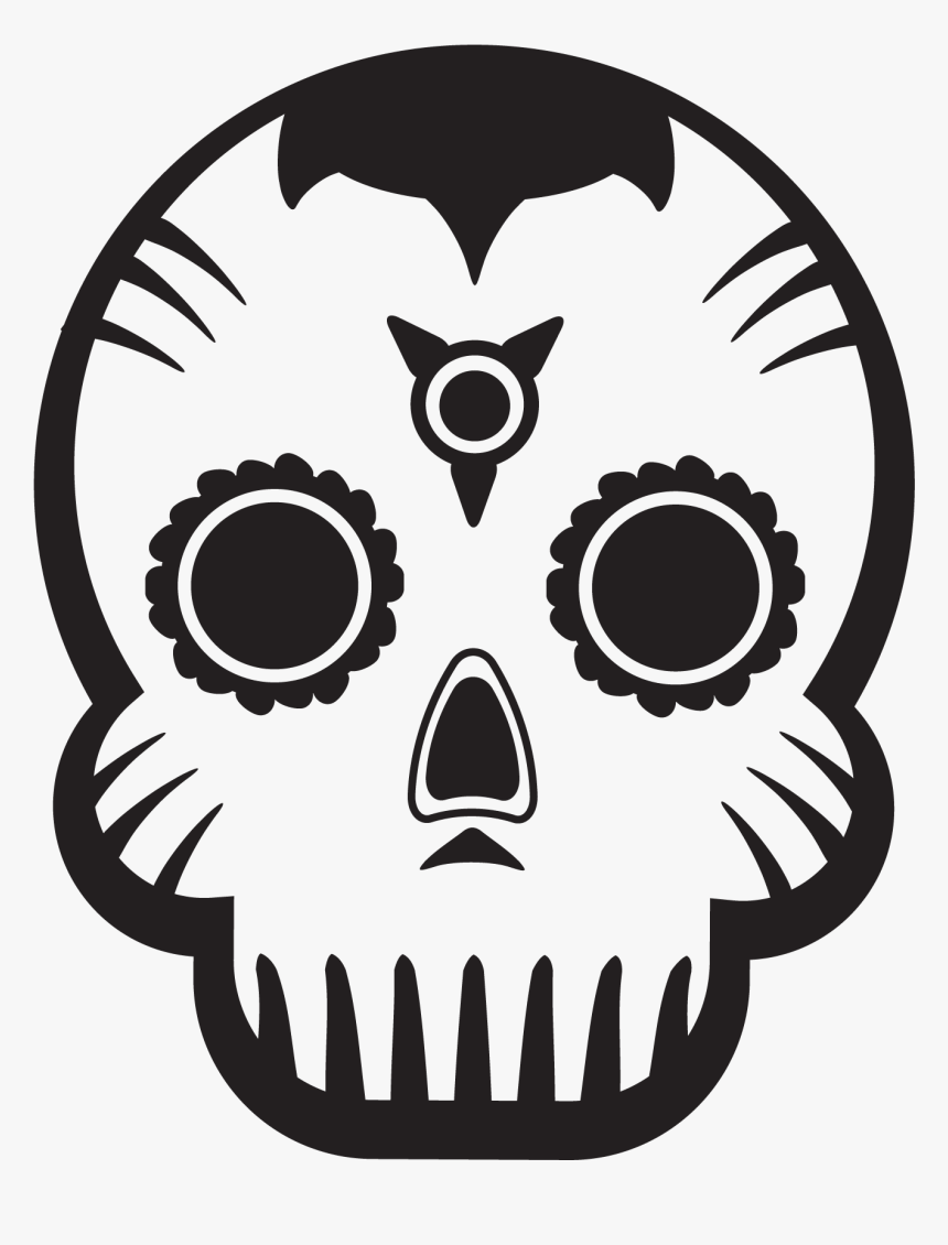 Day Of The Dead Skull - Day Of The Dead Simple Art, HD Png Download, Free Download