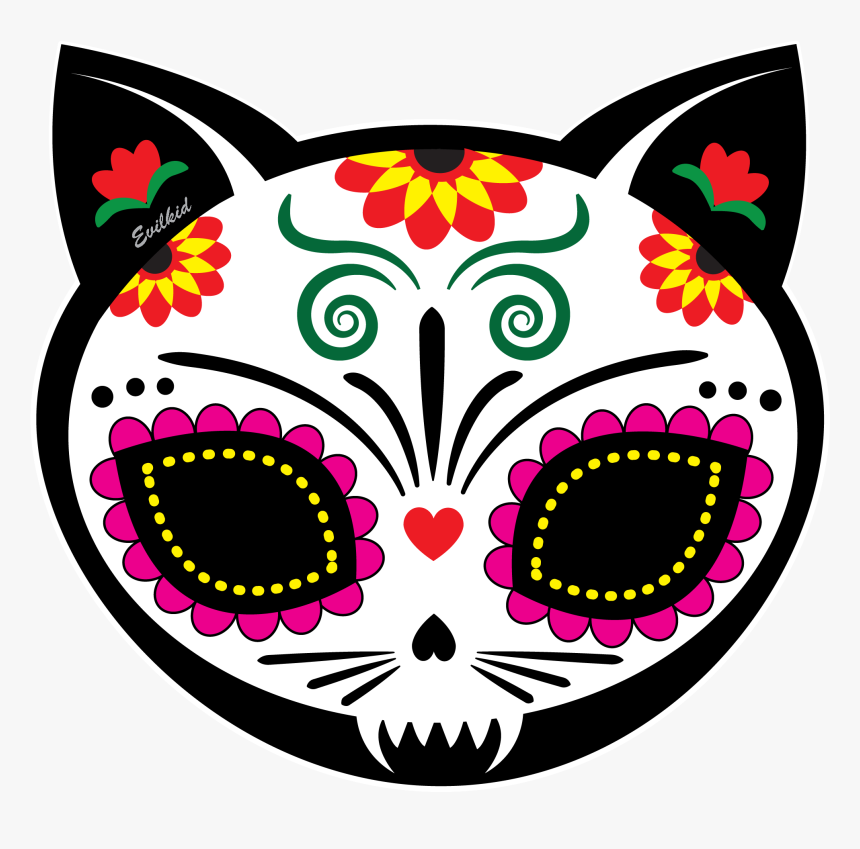 Gato Muerto Cat Sugar Skull For Dia De Los Muertos - Dia De Los Muertos Cat Skull, HD Png Download, Free Download