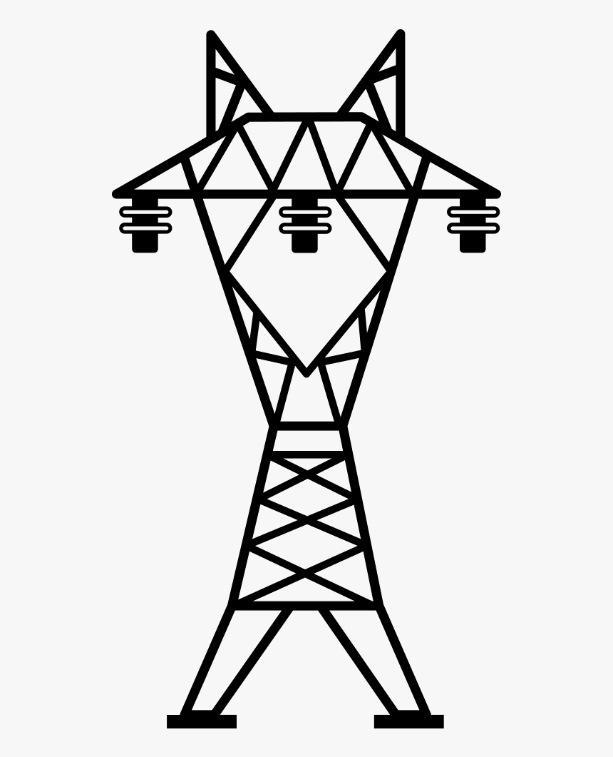 Line,line And White,clip Art,coloring Book,tower - Power Transmission Tower Icon, HD Png Download, Free Download