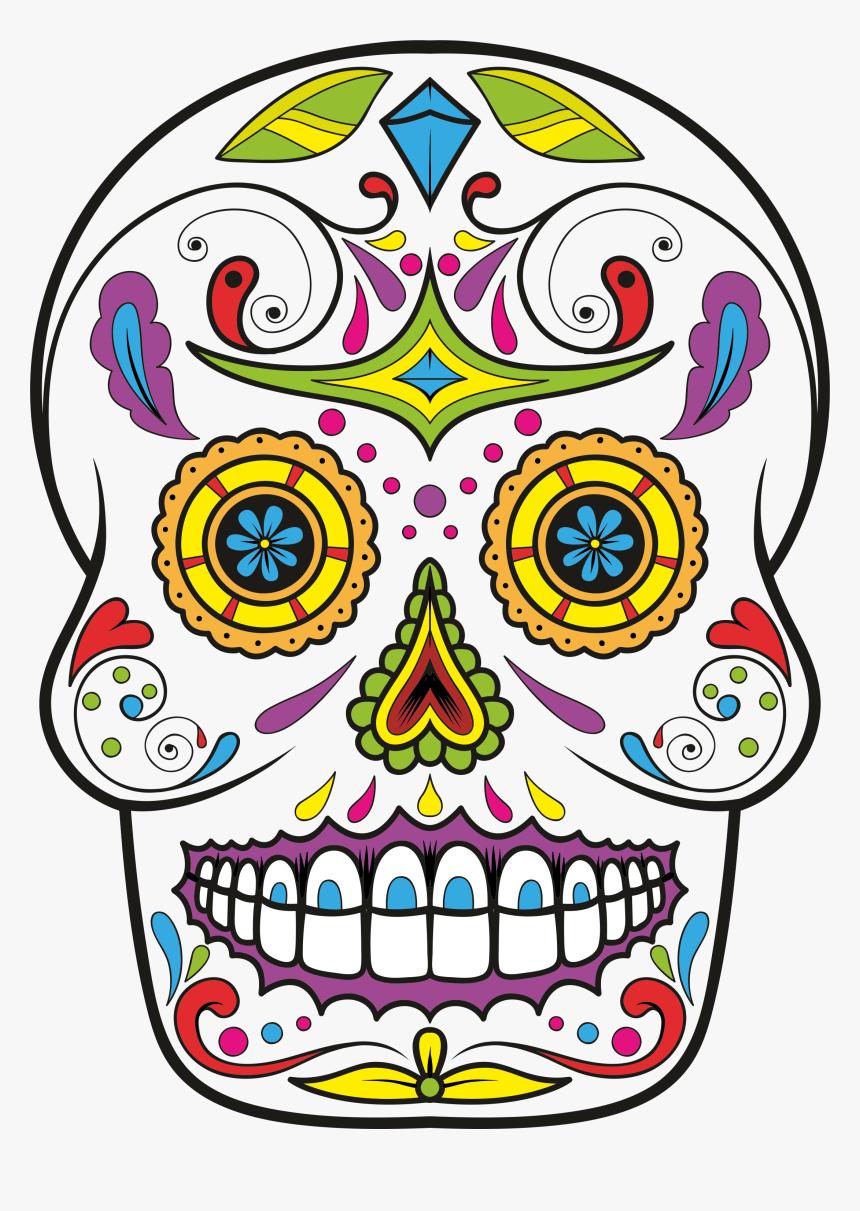 Calavera Skull Day Of The Dead Drawing Clip Art - Sugar Skull Clipart Png, Transparent Png, Free Download