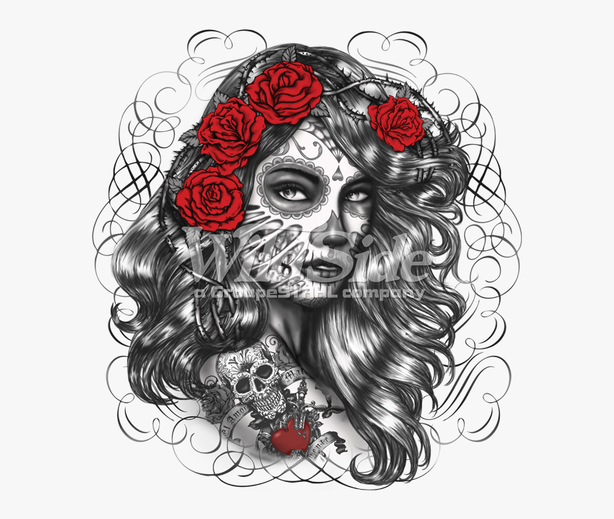 Day Of The Dead Girl Drawing - Mexican Day Of The Dead Girl, HD Png Download, Free Download