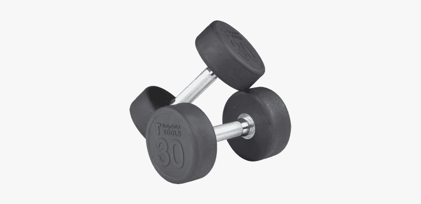 Rubber Round Dumbell 5-50lb Pairs - Dumbbell, HD Png Download, Free Download