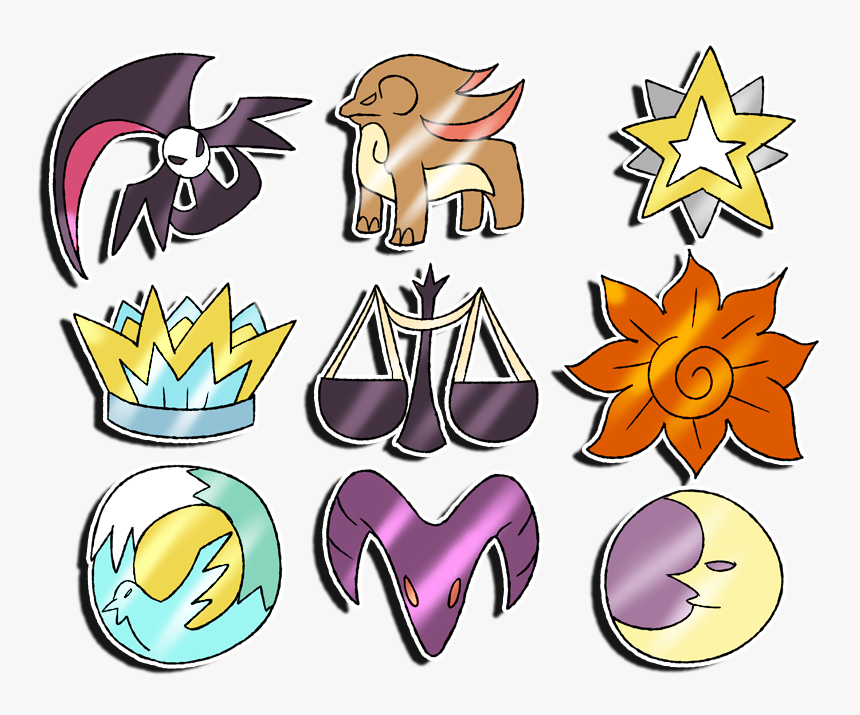 Transparent Dawn Clipart - Pokemon Sun And Moon All Badges, HD Png Download, Free Download
