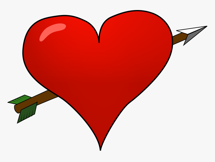 Heart Love Arrow Valentine Amor - Valentine Heart With Arrow, HD Png Download, Free Download