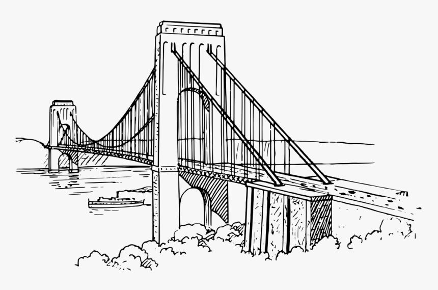 Brooklyn Bridge Line Drawing - Sketch Suspension Bridge Drawing, HD Png Download, Free Download