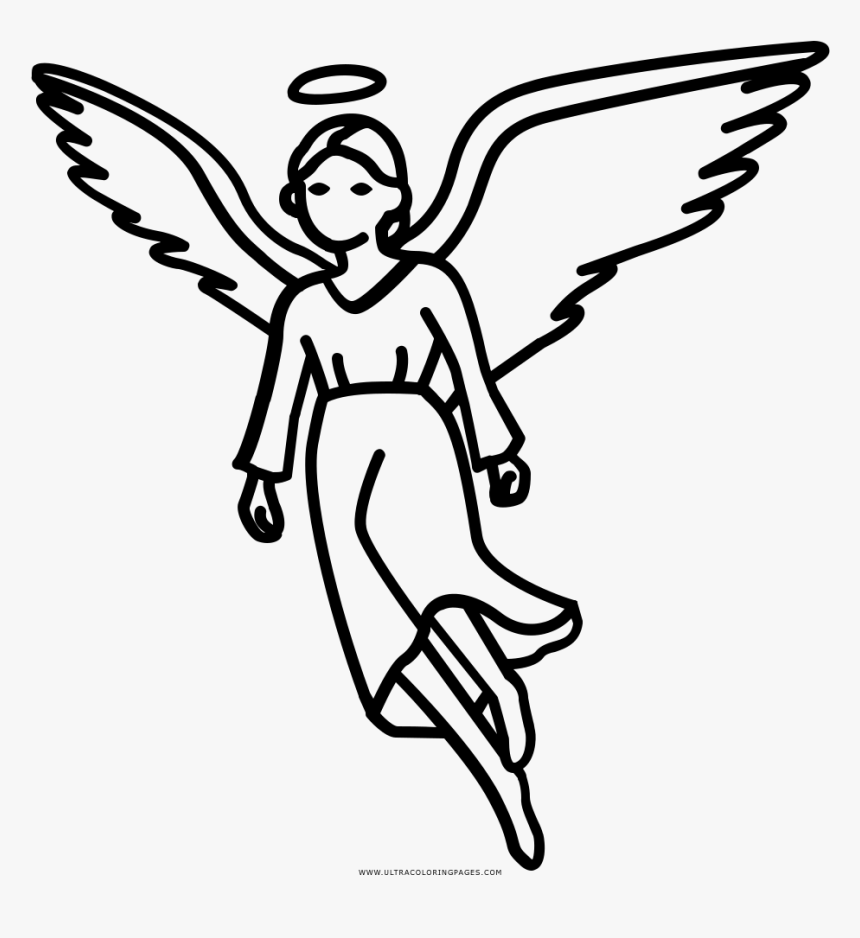 Angel Coloring Page - Line Art, HD Png Download, Free Download