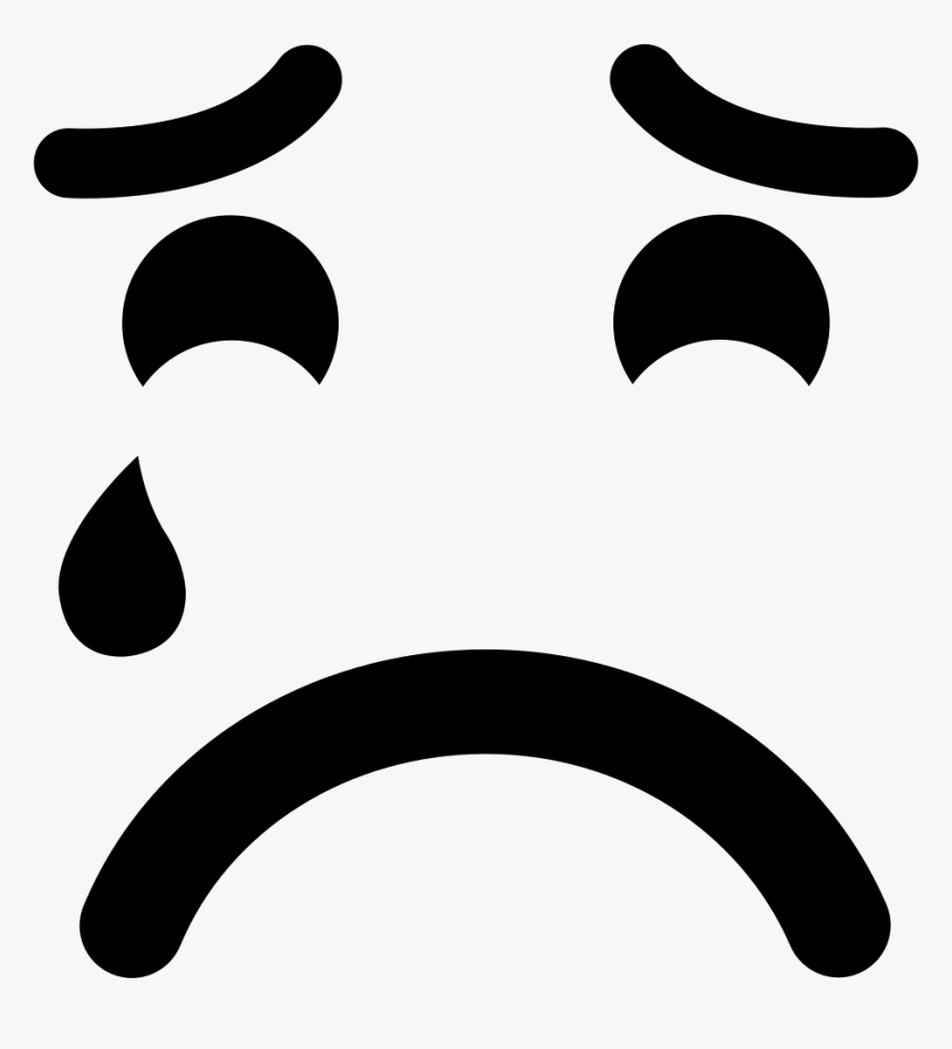 Sad Suffering Crying Emoticon Face - Emoticon Hitam Putih Png, Transparent Png, Free Download