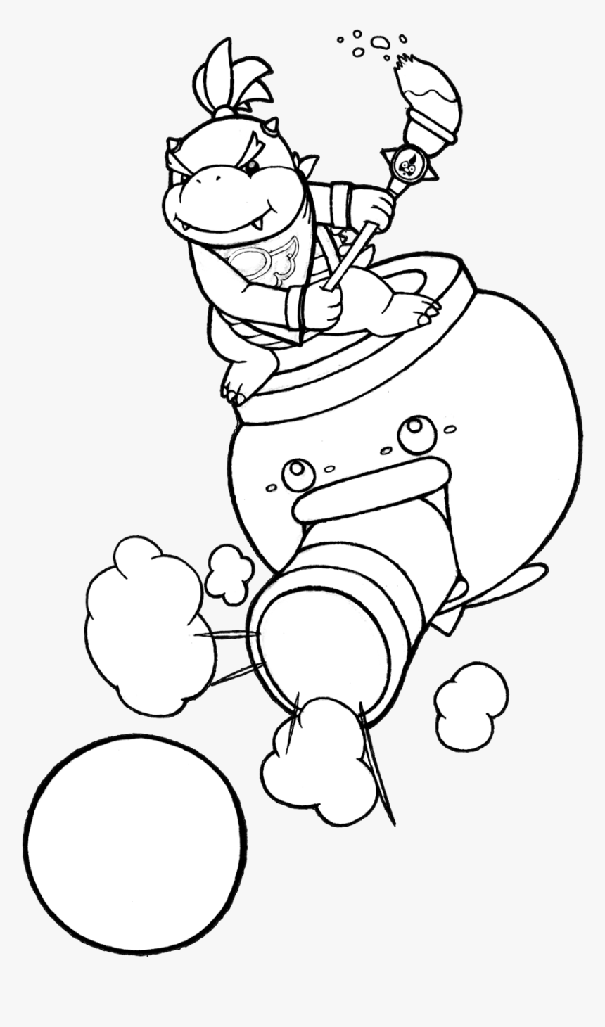 Coloring Pages For Kids And For Adults - Mario Bowser Jr Coloring Pages, HD Png Download, Free Download