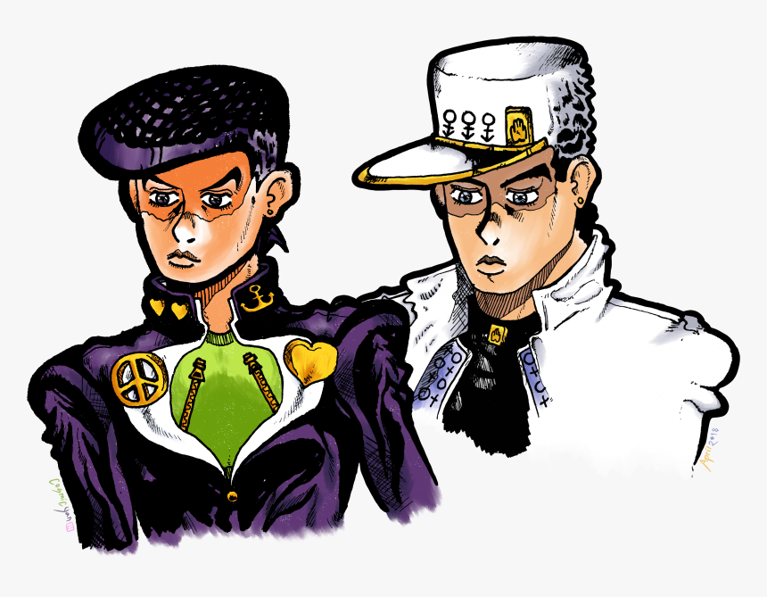 Jotaro And Josuke - Cartoon, HD Png Download, Free Download
