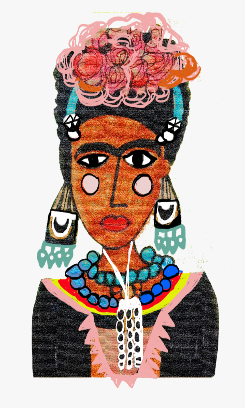 Frida Self Portrait Illustration By Happygraff - Frida Kahlo, HD Png Download, Free Download