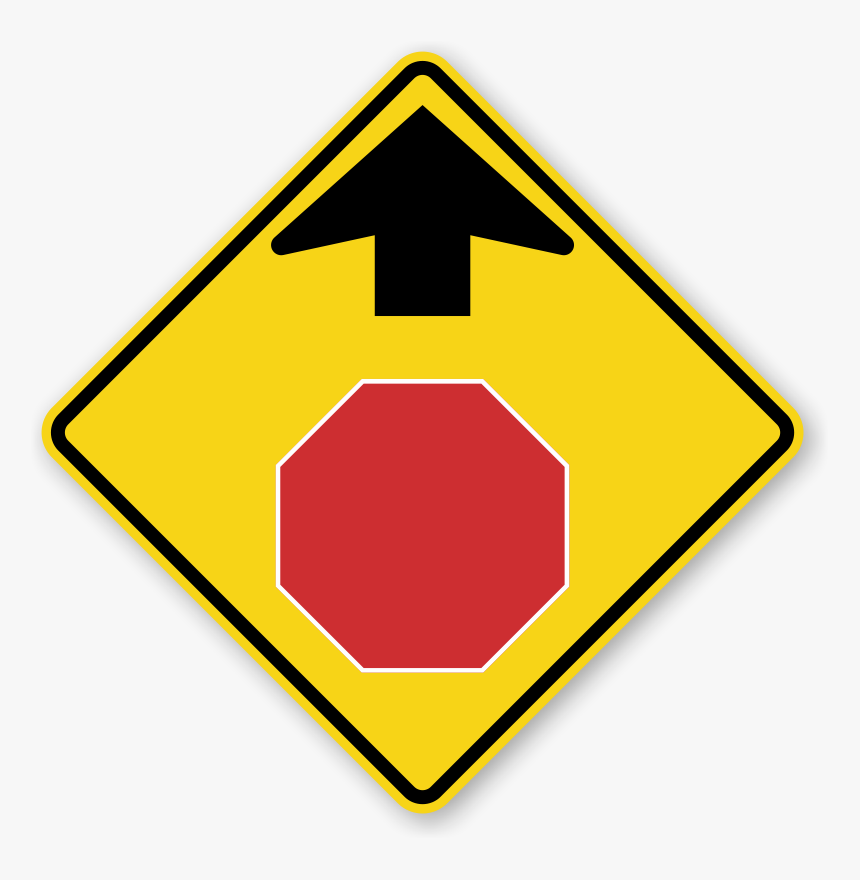 Transparent Blank Highway Sign Png - Stop Sign Ahead Sign, Png Download, Free Download