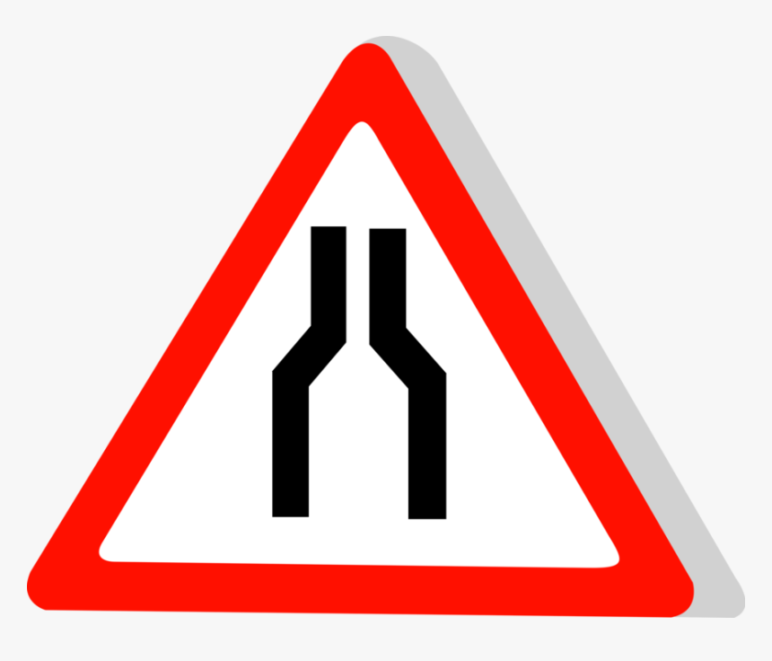 Vector Illustration Of European Union Eu Traffic Highway - Narrow Road Ahead Sign, HD Png Download, Free Download