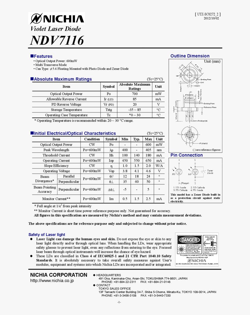 400nm 405nm 600mw To Can Nichia - Nichia Laser Diode Type, HD Png Download, Free Download