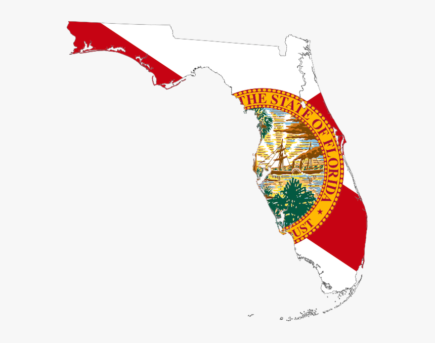 Transparent Florida State Outline Png - Florida Flag Map, Png Download, Free Download