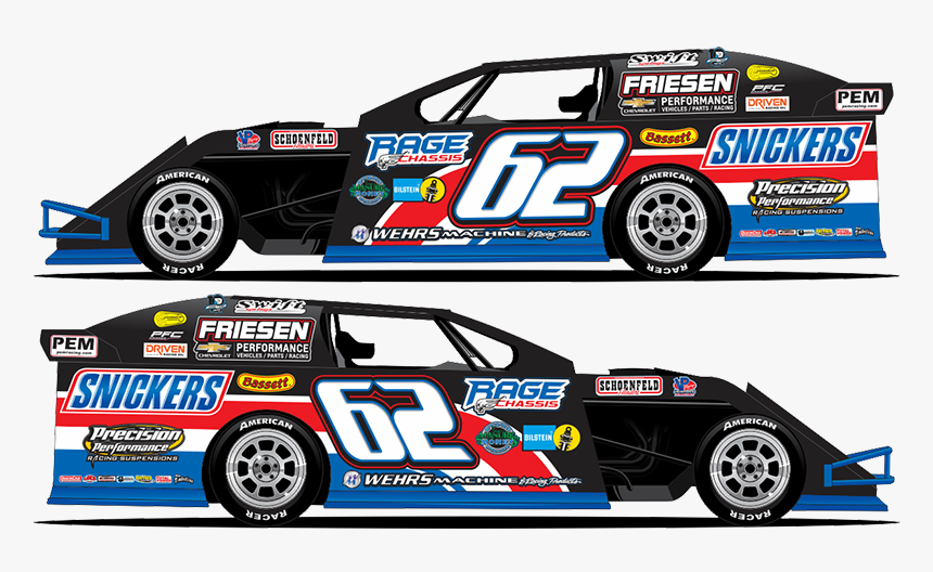 "Hunter Marriott""s Modified Will Fly The Colors Of The - Hunter Marriott Snickers Car, HD Png Download, Free Download"