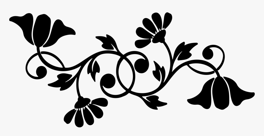 Floral Flourish Flowers Motif Silhouette Abstract - Black And White Flower Motif, HD Png Download, Free Download