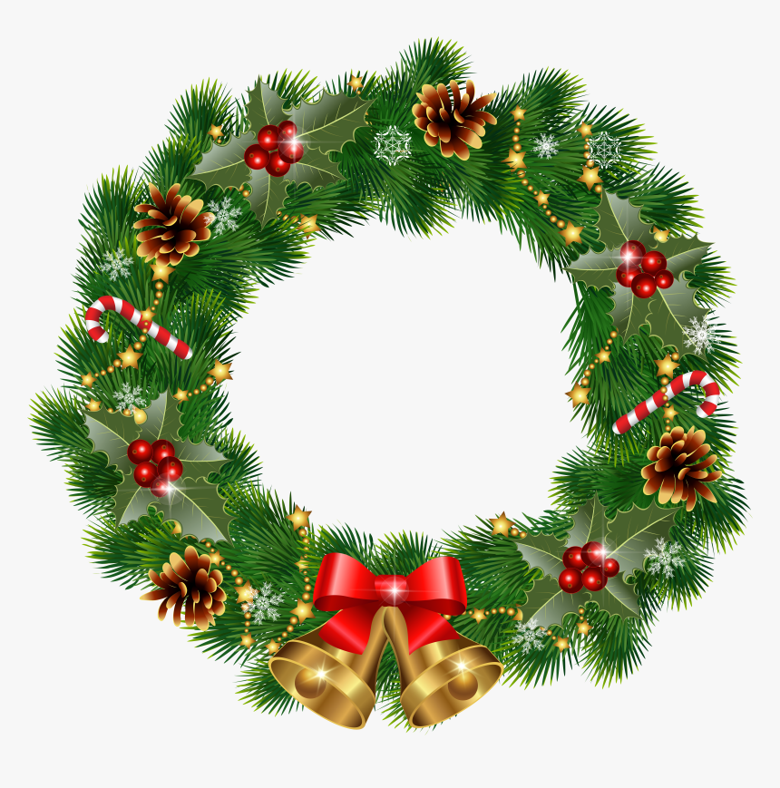 Christmas Wreath With Bells Png Clipart Image - Wreath Clipart Png Christmas Wreath Png, Transparent Png, Free Download