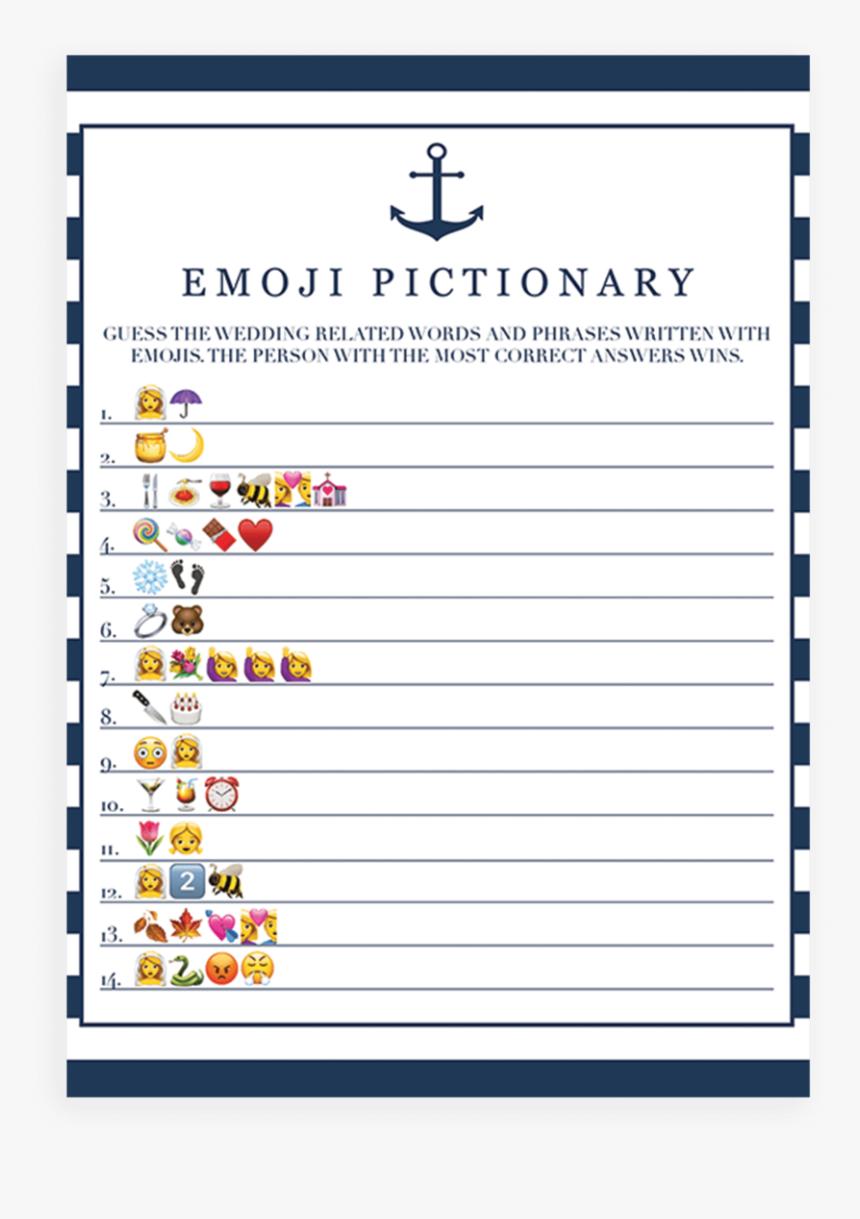 This is a photo of Emoji Bridal Shower Game Free Printable with emoji decoder