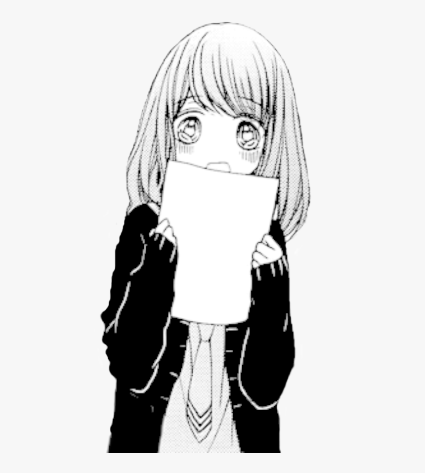 Cute Human Png Girl Black And White - Cute Sad Anime Girl, Transparent Png, Free Download